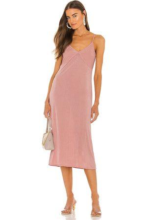 LINE & DOT Jeanie Slinky Midi Slip Dress in - Blush. Size L (also in XS, S, M).