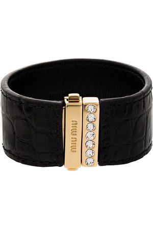 Miu Miu Crocodile-effect crystal-embellished bracelet