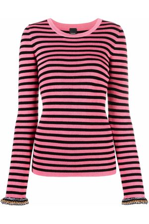 Pinko Contrasting cuffs striped knitted top