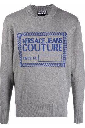 VERSACE Logo intarsia rib-trimmed jumper