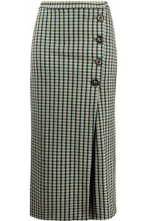 Pinko Button-up checked midi skirt