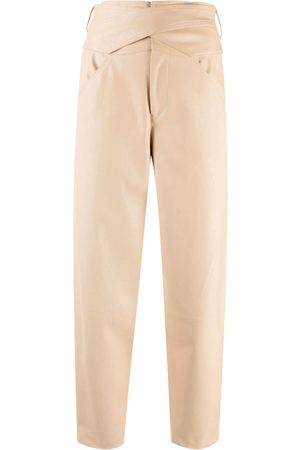 Pinko High-waisted faux leather cropped trousers