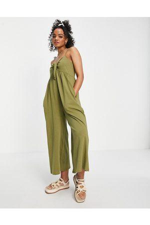 ASOS Tie front sleeveless swing jumpsuit in khaki-Green