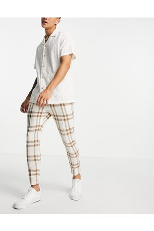 ASOS Co-ord smart jogger in ecru and brown check-Neutral
