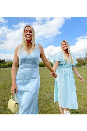 Labelrail Senhora Vestidos Casual - X Olivia & Alice midi slip dress in tonal spot satin-Blue