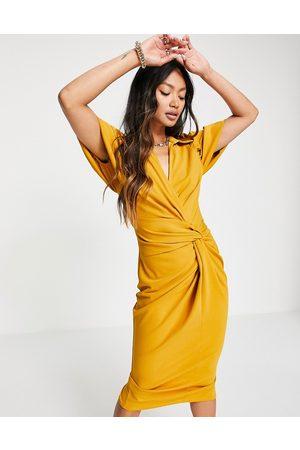 ASOS Shirt knot detail wrap midi dress in mustard-Yellow