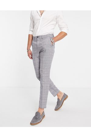 SELECTED Slim tapered linen blend suit trousers in blue