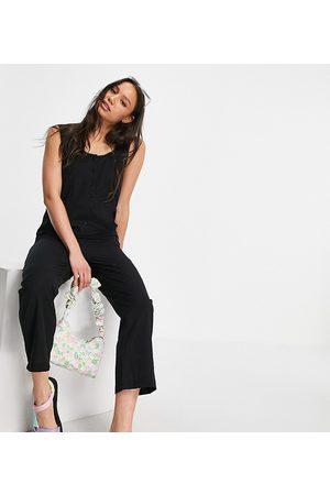 ASOS Senhora Macacões Curtos - ASOS DESIGN tall button front linen minimal chuck on jumpsuit in black