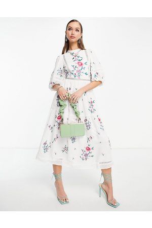ASOS High neck dobby embroidered midi dress with lace trims in white