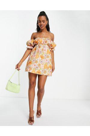 ASOS Off shoulder cut out mini skater dress in 70's floral print-Multi
