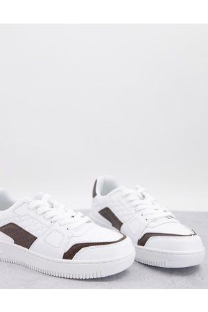 River Island Low top monogramed trainers in white