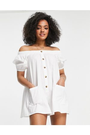 ASOS Off shoulder button through swing playsuit in white
