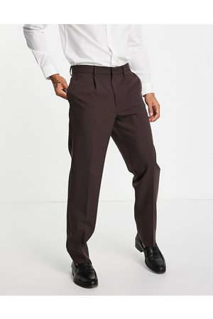 River Island Relaxed suit trousers in brown