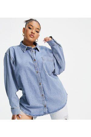 ASOS Senhora Ganga - ASOS DESIGN Curve Denim 'Original' shirt in midwash-Blue