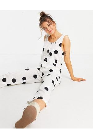 ASOS DESIGN Senhora Macacões Curtos - Button front linen minimal chuck on jumpsuit in mono spot-Multi