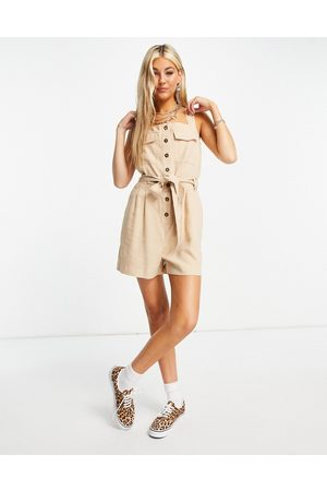 ONLY Utility playsuit with button front in beige-Neutral