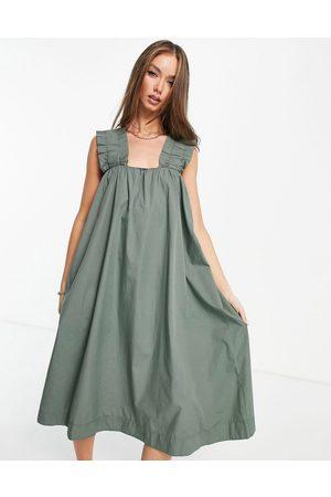 VERO MODA Senhora Vestidos Midi - Organic cotton ruched strap midi dress in khaki-Green