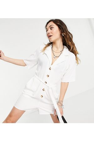 Reclaimed Vintage Inspired belted playsuit with tortoiseshell buttons in white