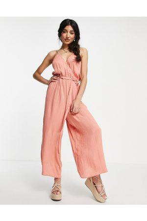 ASOS Wrap front cami culotte trim jumpsuit in rust-Brown
