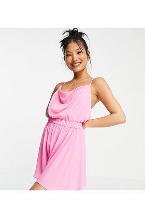 ASOS ASOS DESIGN petite cowl neck skinny strap playsuit in pink