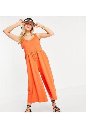 ASOS Senhora Macacões Curtos - ASOS DESIGN petite tie shoulder smock jumpsuit in pop orange