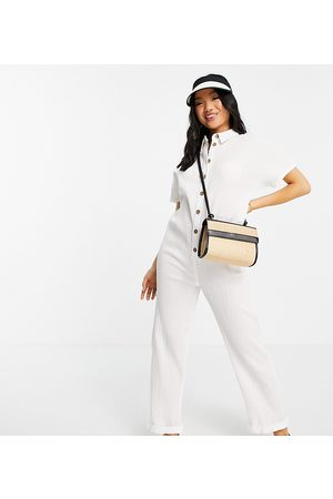 ASOS Petite ASOS DESIGN petite button through chuck on shirt jumpsuit in white
