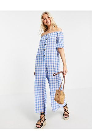 ASOS Off shoulder button front dobby jumpsuit in blue gingham-Multi