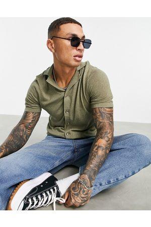 ASOS Knitted button through shirt in khaki-Green