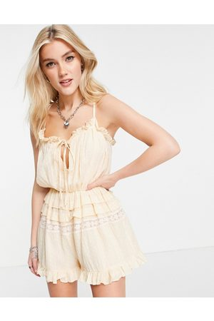 ASOS DESIGN Lace insert dobby strappy playsuit in peach-Orange