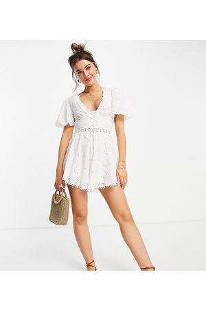 Sisters of the Tribe Lace front playsuit with puff sleeves in white broderie