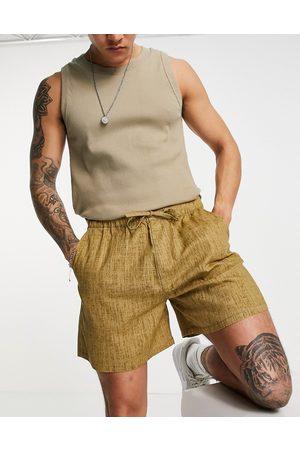 ASOS Homem Calções - Wide shorts in linen look-Brown