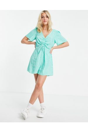 Nobody's Child Flippy playsuit in blue ditsy floral