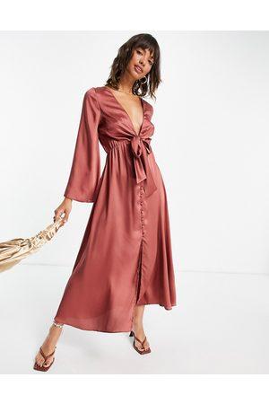 ASOS DESIGN Tie front satin midi dress in rust-Red