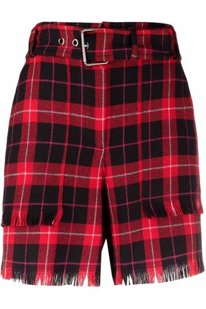 Pinko Check-print fringed shorts