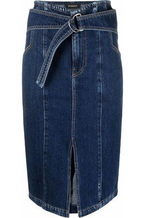 Pinko Belted-waist denim skirt
