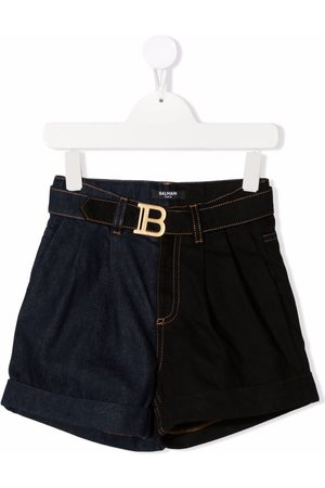 Balmain Kids Menina Calções - Belted denim shorts