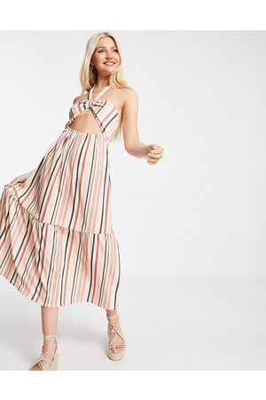 ASOS Halter maxi dress with cut out and tiers in tonal red stripe
