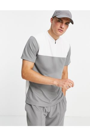 Topman Classic fit polo with baseball neck in cut and sew charcoal-Grey
