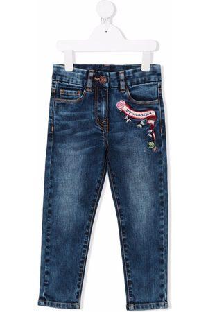 MONNALISA Menina Jeans - Logo-embroidered jeans