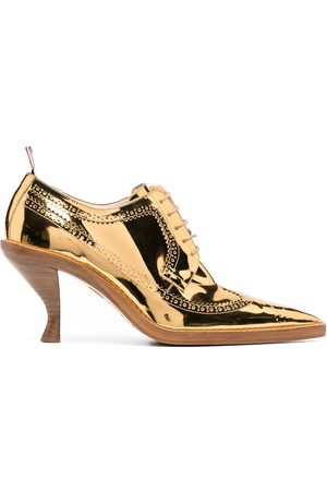Thom Browne Senhora Oxford & Moccassins - Metallic longwing brogues with sculpted heel