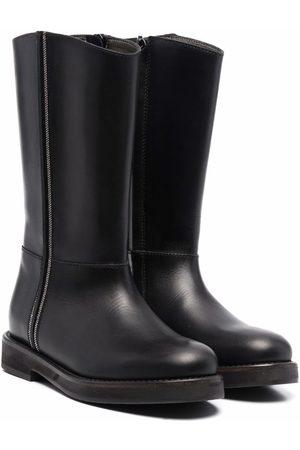 Brunello Cucinelli Menina Botas de Cano Alto - Chain-link detail tall boots