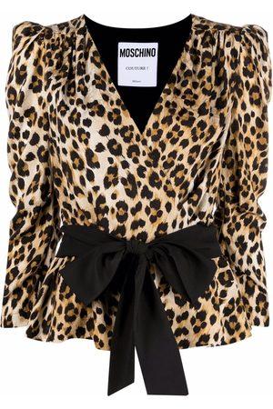 Moschino Senhora Blusas - Wrap-style leopard blouse