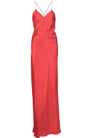 Michelle Mason Senhora Vestidos de Festa - Cross-strap silk wrap gown
