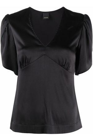 Pinko Senhora Blusas - Short-sleeve fitted silk blouse