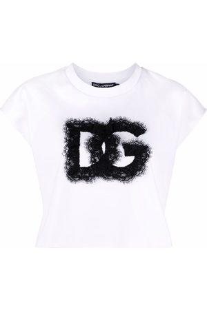Dolce & Gabbana Senhora T-shirts - Lace-logo cropped T-shirt