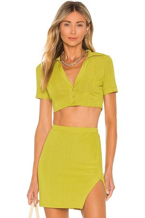 Camila Coelho Bennie Crop Shirt in - Green. Size L (also in XXS, XS, S, M, XL).