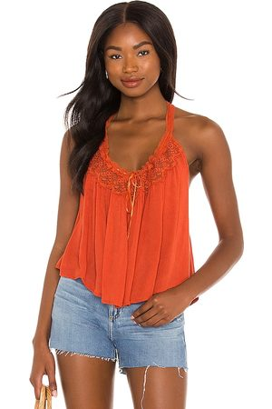 Free People X REVOLVE Audrey Lace Tank in - Brick. Size L (also in XS, S, M).