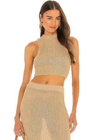 Camila Coelho Cleo Top in - Beige. Size L (also in XS, S, M).