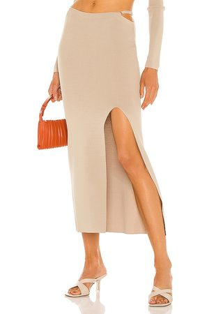 AYA MUSE Diamond Knit Skirt in - Beige. Size L (also in XS, S, M).