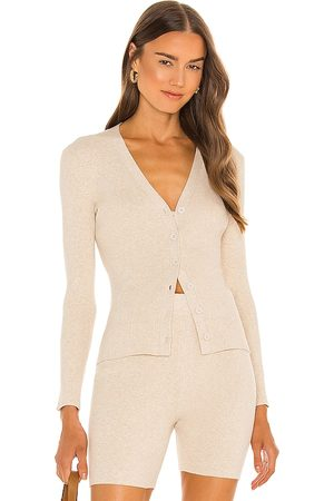 JoosTricot Ribbed Cardigan in - Nude. Size L (also in M, S, XS).